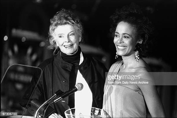 Katharine Hepburn receives award from Planned Parenthood president Faye Wattleton for her support of abortion rights and access to family planning...