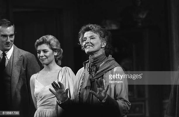 """Katharine Hepburn shares a curtain call with Regina Baff and other members of the cast after the November 19th opening of the play """"The West Side..."""