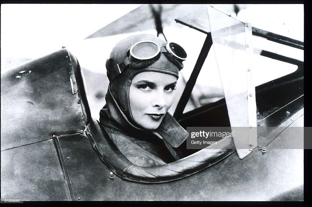 Katharine Hepburn Sits In A Plane In USA Actress Hepburn Won Four Of Twelve Oscar Nomina : News Photo