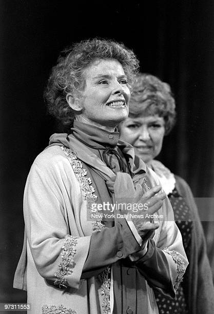 Katharine Hepburn takes curtain bows after her opening night performance in The West Side Waltz with Dorothy Loudon at the Ethel Barrymore Theater
