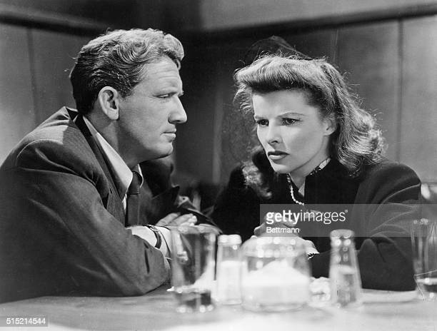 """Katharine Hepburn with Spencer Tracy in the film """"Woman of the Year."""" Garson Kanin directed the film which was written by Ring Lardner and Michael..."""