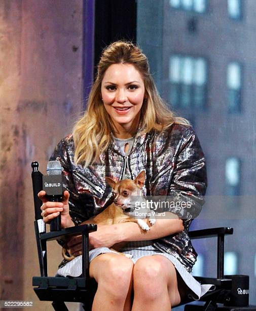 Katharine McMphee discusses 'Scorpion' during the AOL BUILD series at at AOL Studios In New York on April 18 2016 in New York City