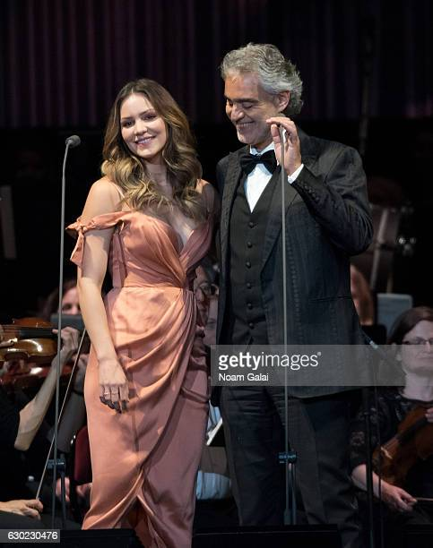 Katharine McPhee and Andrea Bocelli perform in concert at Prudential Center on December 18 2016 in Newark New Jersey