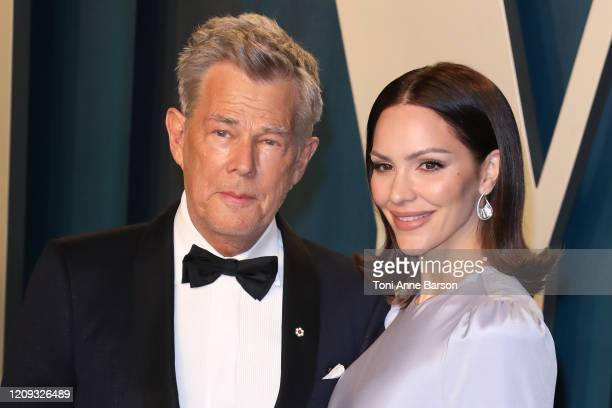 Katharine McPhee and David Foster attend the 2020 Vanity Fair Oscar Party at Wallis Annenberg Center for the Performing Arts on February 09, 2020 in...