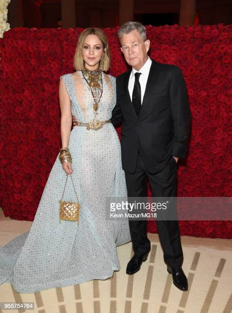 Katharine McPhee and David Foster attend the Heavenly Bodies Fashion The Catholic Imagination Costume Institute Gala at The Metropolitan Museum of...