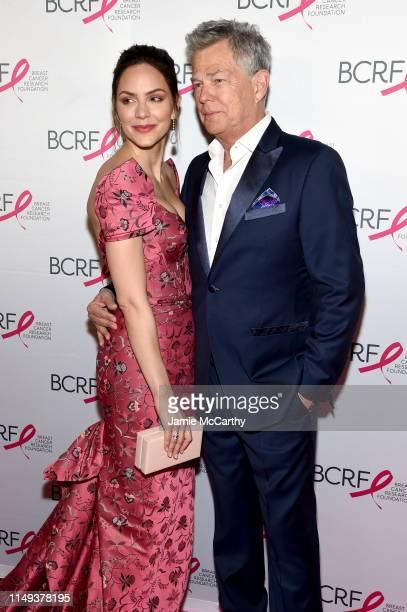 Katharine McPhee and David Foster attend the Hot Pink Party hosted by the Breast Cancer Research Foundation at Park Avenue Armory on May 15, 2019 in...