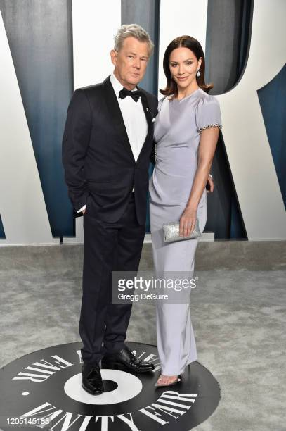 Katharine McPhee and David Foster attends the 2020 Vanity Fair Oscar Party hosted by Radhika Jones at Wallis Annenberg Center for the Performing Arts...