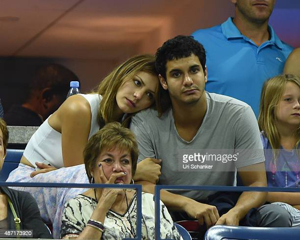 Katharine McPhee and Elyes Gable attend day 7 of the 2015 US Open at USTA Billie Jean King National Tennis Center on September 6 2015 in New York City