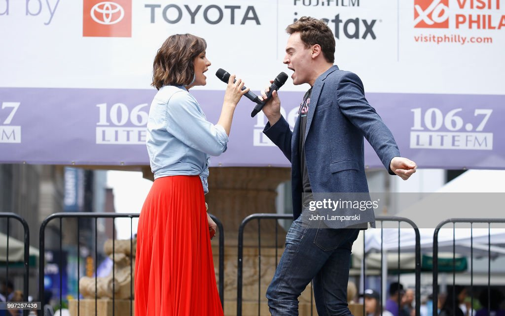 Katharine McPhee and Erich Bergen of Waitress perform during 106.7 LITE FM's Broadway in Bryant Park on July 12, 2018 in New York City.
