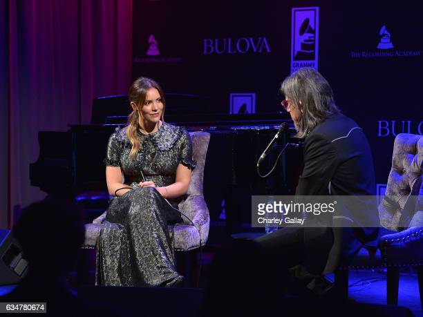 Katharine McPhee and GRAMMY Foundation Vice President Scott Goldman participate in a QA at the Bulova x GRAMMY Brunch in the Clive Davis Theater at...