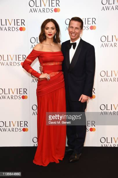 Katharine McPhee and Jack McBrayer pose in the press room at The Olivier Awards 2019 with Mastercard at The Royal Albert Hall on April 7 2019 in...