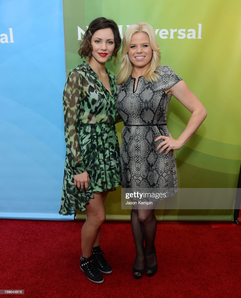 Katharine McPhee and Megan Hilty attend NBCUniversal's '2013 Winter TCA Tour' Day 1 at Langham Hotel on January 6, 2013 in Pasadena, California.