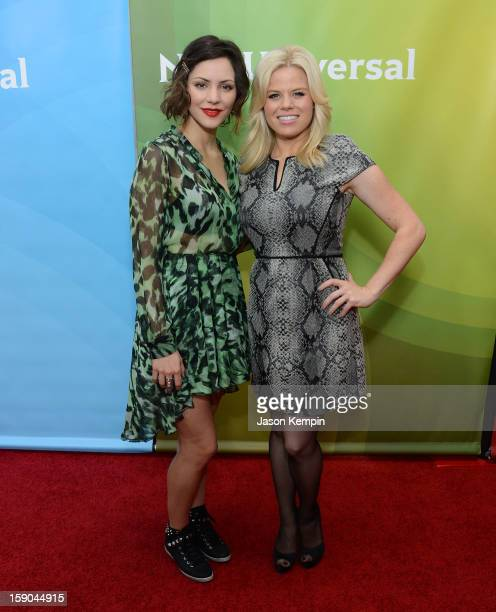 """Katharine McPhee and Megan Hilty attend NBCUniversal's """"2013 Winter TCA Tour"""" Day 1 at Langham Hotel on January 6, 2013 in Pasadena, California."""