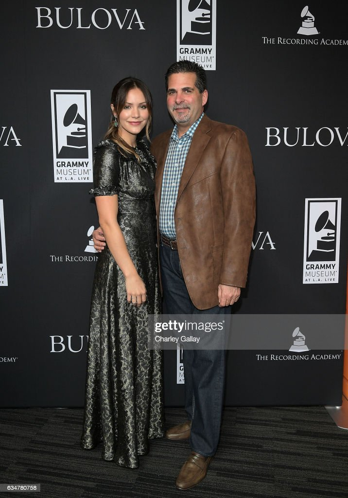 Katharine McPhee and President of Citizen Watch America, Bulova Jeffrey Cohen attend the Bulova x GRAMMY Brunch in the Clive Davis Theater at The GRAMMY Museum on February 11, 2017 in Los Angeles, California.