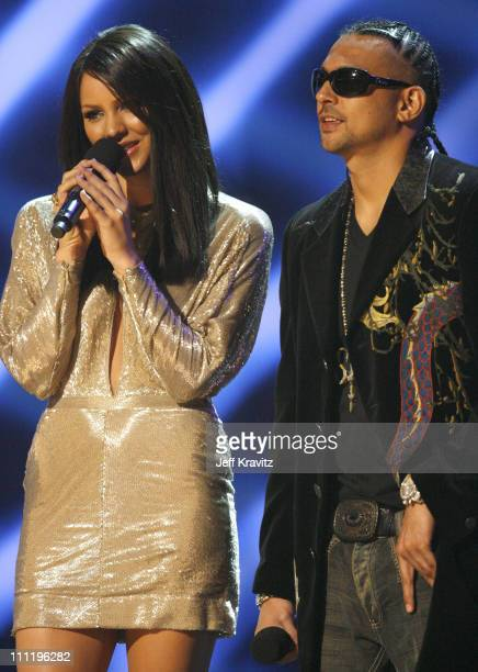 Katharine McPhee and Sean Paul presenters during 2006 American Music Awards Show at Shrine Auditorium in Los Angeles CA United States