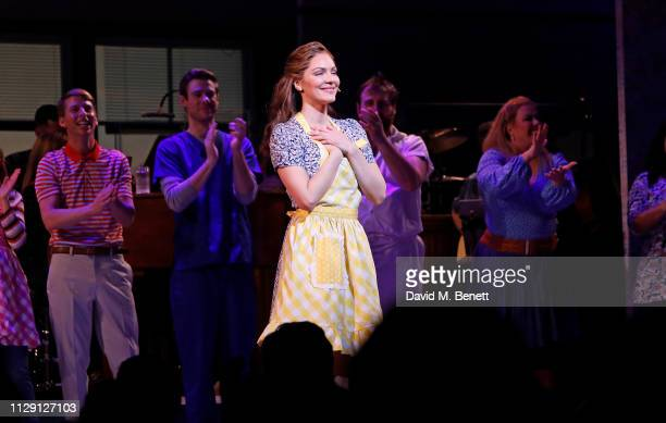 """Katharine McPhee bows at the curtain call during the press night performance of """"Waitress: The Musical"""" at The Adelphi Theatre on March 7, 2019 in..."""