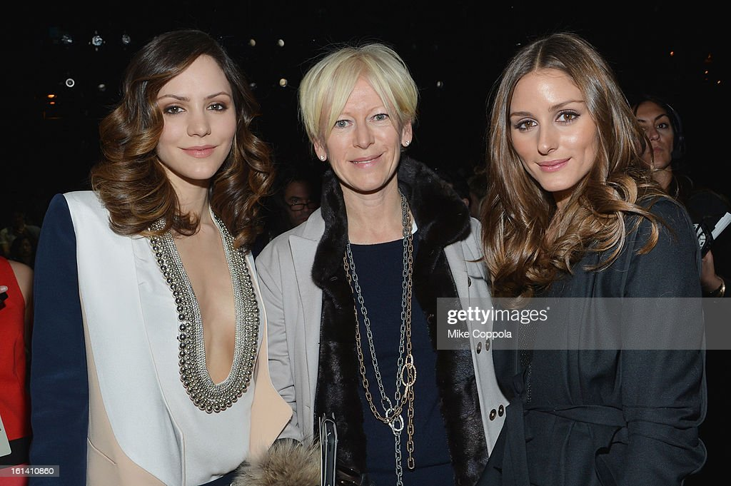 Katharine McPhee, Cosmopolitan Magazine Editor-in-Chief Joanna Coles and Olivia Palermo attend the Diane Von Furstenberg Fall 2013 fashion show during Mercedes-Benz Fashion at The Theatre at Lincoln Center on February 10, 2013 in New York City.