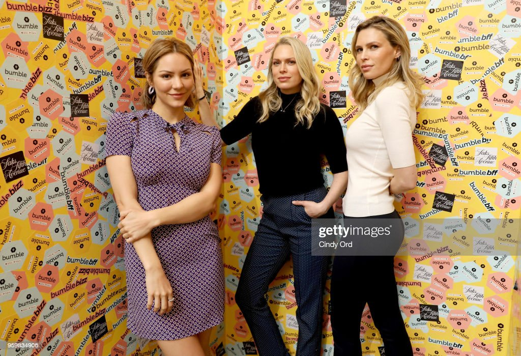 Katharine McPhee, Erin Foster, and Sara Foster attend a panel discussion on power dressing with Bumble's Sara & Erin Foster and designer Andrea Lieberman hosted by Saks at Saks Fifth Avenue on May 18, 2018 in New York City.
