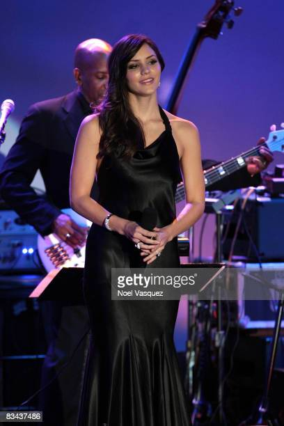 Katharine McPhee performs on stage at the 30th Anniversary Carousel Of Hope Ball at The Beverly Hilton Hotel on October 25, 2008 in Beverly Hills,...