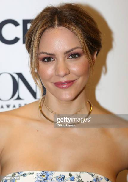 Katharine McPhee poses backstage at the 2018 Tony Award nominations at The New York Public Library for the Performing Arts on May 1 2018 in New York...