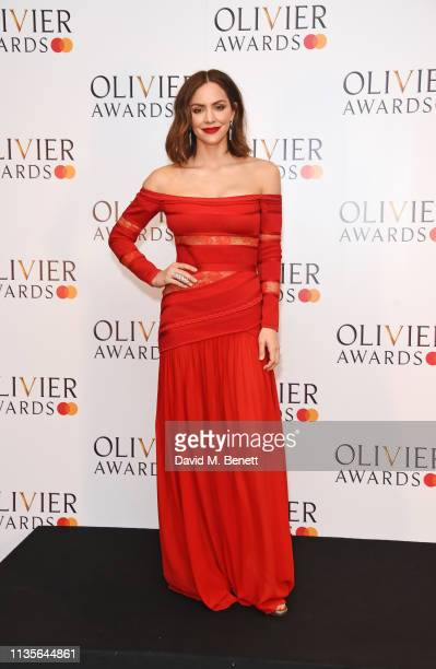 Katharine McPhee poses in the press room at The Olivier Awards 2019 with Mastercard at The Royal Albert Hall on April 7 2019 in London England