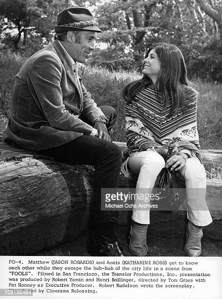 Katharine Ross and Jason Robard get to know each other better in a scene from the film 'Fools' 1970