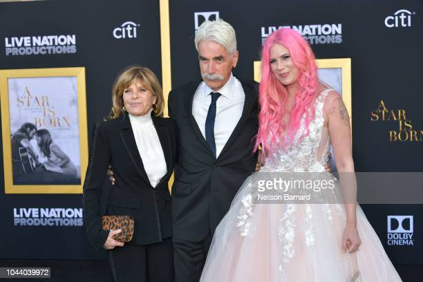 Katharine Ross, Sam Elliott and Cleo Rose Elliott arrive at the Premiere Of Warner Bros. Pictures' 'A Star Is Born' at The Shrine Auditorium on...