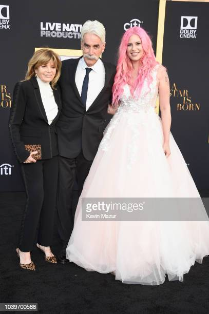 Katharine Ross Sam Elliott and Cleo Rose Elliott attend the premiere of Warner Bros Pictures' A Star Is Born at The Shrine Auditorium on September 24...
