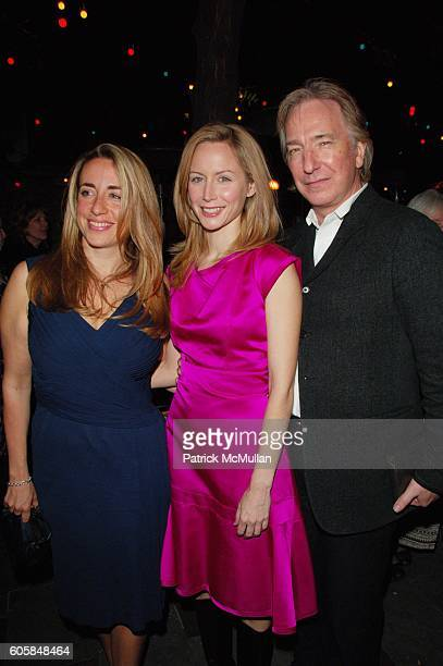 Katharine Viner Megan Dodds and Alan Rickman attend My Name Is Rachel Corrie opening night AfterParty at B Bar NYC on October 15 2006