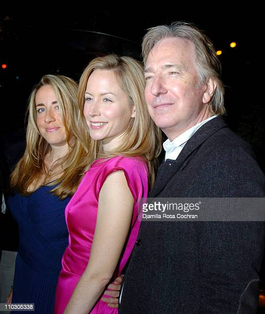 Katharine Viner Megan Dodds and Alan Rickman during Opening Night of My Name is Rachel Corrie After Party at Bowery Bar in New York City New York...