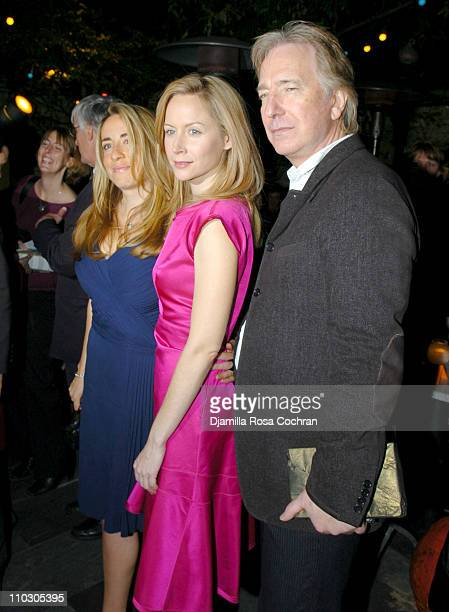 Katharine Viner Megan Dodds and Alan Rickman during Opening Night of 'My Name is Rachel Corrie' After Party at Bowery Bar in New York City New York...