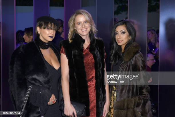Katharine Zarrella Anne Huntington and Noreen Ahmad attend the Hugo Boss Prize 2018 Artists Dinner at the Guggenheim Museum on October 18 2018 in New...