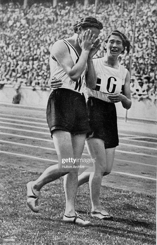 Kathe Krauss of Germany in tears after a bad hand-over cost them the gold medal in the 4 x 100 metres relay final at the 1936 Berlin Olympic Games.