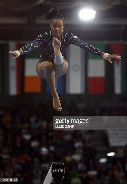 Katheleen Lindor of France competes on the beam during the women's team final of the 40th World Artistic Gymnastics Championships 05 September 2007...