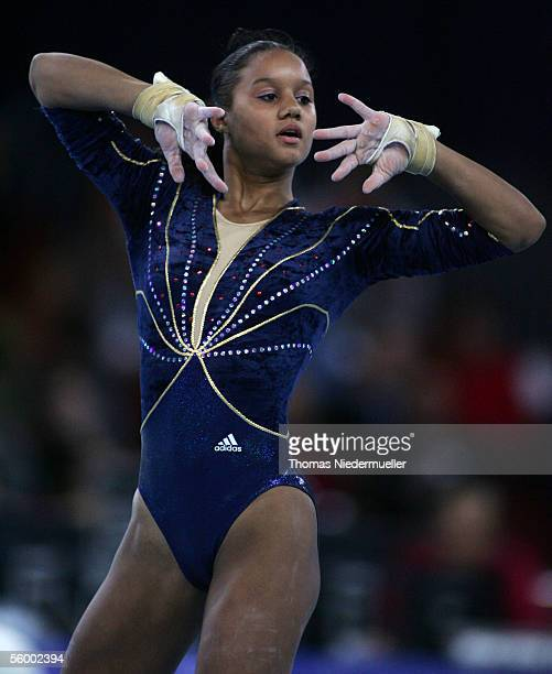 Katheleen Lindor of France competes on the floor during the 23rd International Gymnastics DTB Cup at the SchleyerHall on October 22 2005 in Stuttgart...