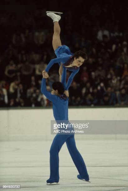 Katherina Matousek Lloyd Eisler in the pairs skating competition at the 1984 Winter Olympics / XIV Olympic Winter Games Zetra Ice Hall