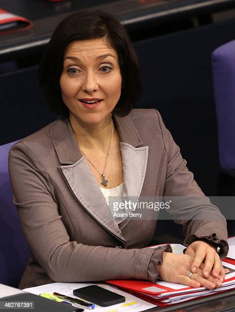Katherina Reiche deputy chairman of the German CDU/CSU party's parliamentary group attends a meeting of the Bundestag or German federal parliament on...