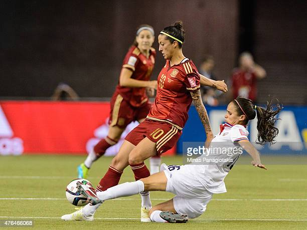 Katherine Alvarado of Costa Rica challenges Jennifer Hermoso of Spain during the 2015 FIFA Women's World Cup Group E match at Olympic Stadium on June...