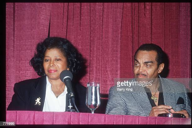 """Katherine and Joe Jackson sit before a press conference February 12, 1994 in Las Vegas, NV. In a special tribute show, """"Jackson Family Honors"""" the..."""