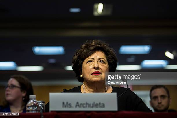 Katherine Archuleta director of Office of Personnel Management testifies during a Senate Appropriations Financial Services and General Government...