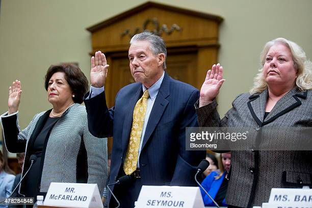 Katherine Archuleta director of the US Office of Personnel Management from left Patrick McFarland inspector general of the OPM and Donna Seymour...