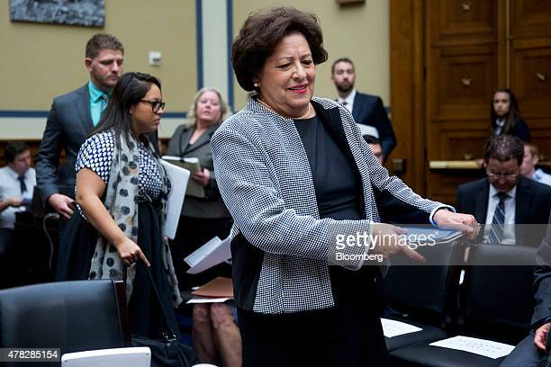 Katherine Archuleta director of the US Office of Personnel Management arrives to a House Oversight and Government Reform Committee hearing on the OPM...