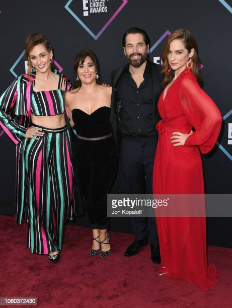 Katherine Barrell Emily Andras Tim Rozon and Melanie Scrofano attend attends the People's Choice Awards 2018 at Barker Hangar on November 11 2018 in...