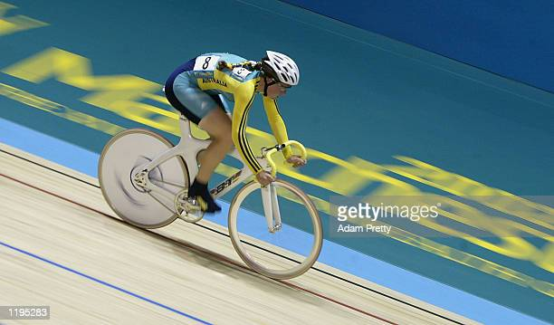 Katherine Bates of Australia on her way to winning the Gold in the Women's 25 km Points Race Final at the National Cycling Centre during the 2002...