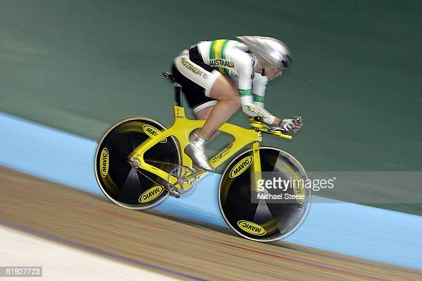 Katherine Bates of the Australia team in action during victory in the women's 500m TT race against Emma Davies of Great Britain at the UCI Track...