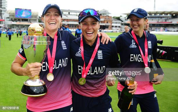 Katherine Brunt and Alex Hartley of England celebrates during the ICC Women's World Cup 2017 Final between England and India at Lord's Cricket Ground...
