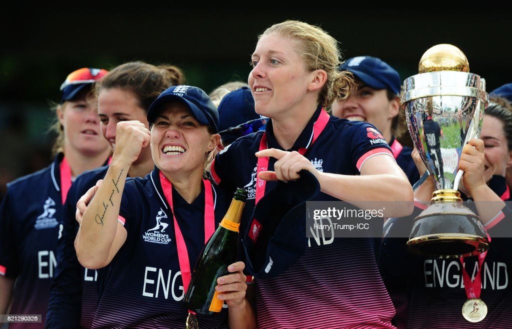 Katherine Brunt and Heather Knight of England celebrate during the ICC Women's World Cup 2017 Final between England and India at Lord's Cricket Ground on July 23, 2017 in London, England.