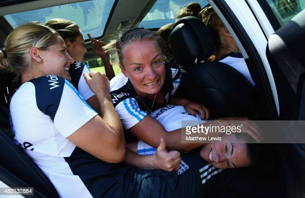 Katherine Brunt Danni Wyatt and Tammy Beaumont of England celebrate the new Kia motor car sponsorship deal for the England Womens Cricket team at the...