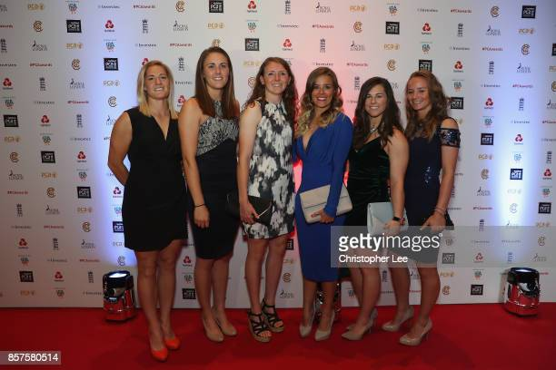 Katherine Brunt Natalie Sciver Beth Langston Alex Hartley Tammy Beaumont and Danni Wyatt of England during the NatWest PCA Awards at The Roundhouse...
