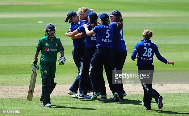 Katherine Brunt of England after dismissing Nain Abidi of Pakistan during the 3rd Royal Royal London ODI between England Women and Pakistan Women at...